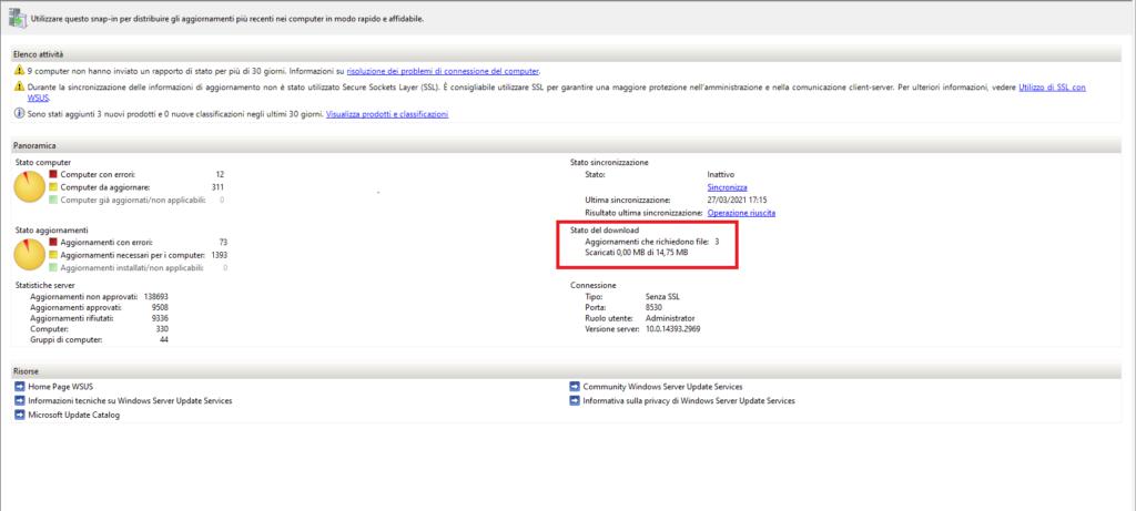 WSUS Server 2016 non scarica gli Updates - Scaricati 0,00 MB