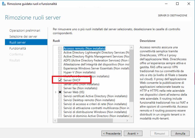 Installazione e Configurazione del ruolo DHCP Server in Windows Server 2016