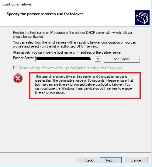 Possibili Errori e Soluzioni in fase di configurazione del DHCP Failover