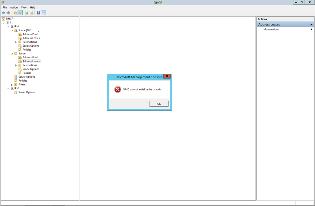 Errore in Microsoft Windows DHCP Server - MMC cannot initialize the snap-in