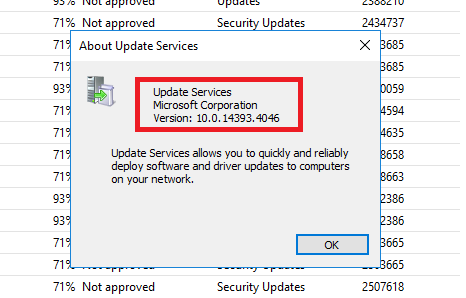 Elenco delle versioni del Microsoft WSUS Server