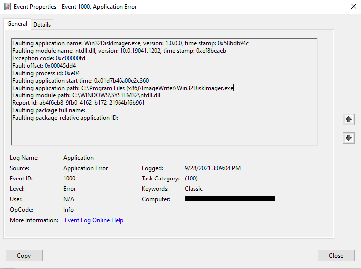 Win32 Disk Imager non si avvia - Errore time stamp: 0x58bdb94c